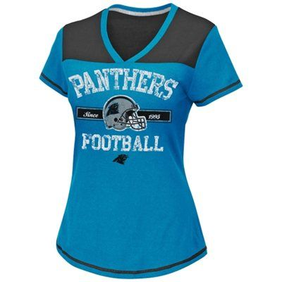 Carolina Panthers Women's Champion Swagger V-Neck T-Shirt - Panther Blue