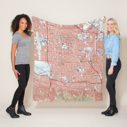 Vintage Map of Van Nuys California (1966) Fleece Blanket - home gifts ideas decor special unique custom individual customized individualized