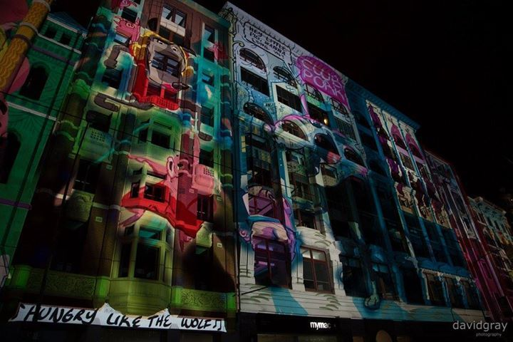 Here's a quick shot from last month's White Night Melbourne. This was taken on Flinders street right across the road from Fed Square. The projection was a reimagining of Little Red Riding Hood and they had a few different projections throughout the night based around fairytales.