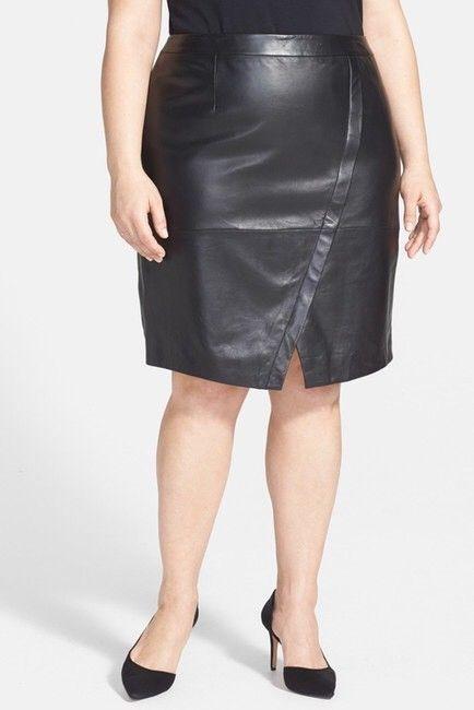 28dcf0a59e Halogen Leather Pencil Skirt 20W Plus Size 2X Black Seamed Faux Wrap  Nordstrom | eBay