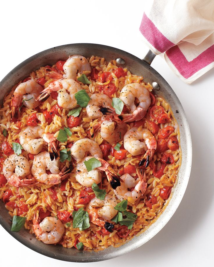 This dish, inspired by paella, is simple enough for family night but makes a pretty presentation for company, too. Cooking the ingredients in one pan allows the orzo to absorb all the wonderful flavors.