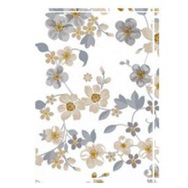 Autopapierenmapje wit met beige/grijze bleomen.