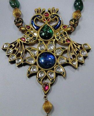 Antique 22 K solid gold Peacock necklace kundan meena polki diamond