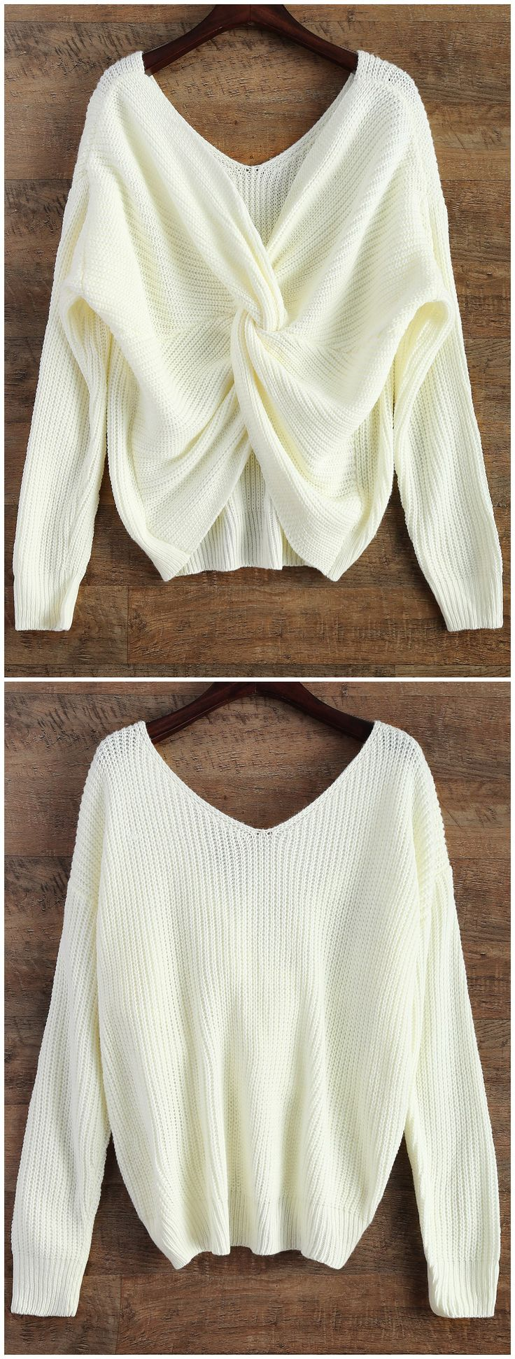 Back to school, back to saving! Free shipping worldwide! V Neck Twisted Back Sweater. Zaful,zaful.com,zaful online shopping,sweaters&cardigans,sweater,sweaters,cardigans,choker sweater,chokers,chunky sweater,chunky,cardigans for women,knit,knitted,knitting,knitwear,cardigan,cardigan outfit,women fashion,winter outfits,winter fashion,fall outfits,fall fashion. @zaful Extra 10% OFF Code:ZF2017
