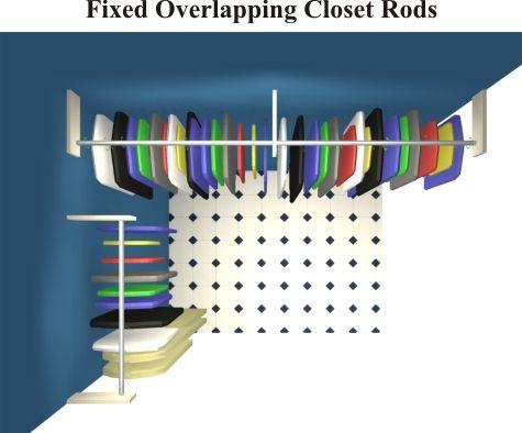 Closet Organizers Fixed Overlapping Closet Rods