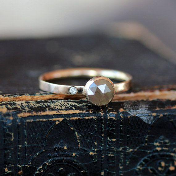 Rose Cut Diamond Ring Engagement Natural Color von ShopClementine, $415.00