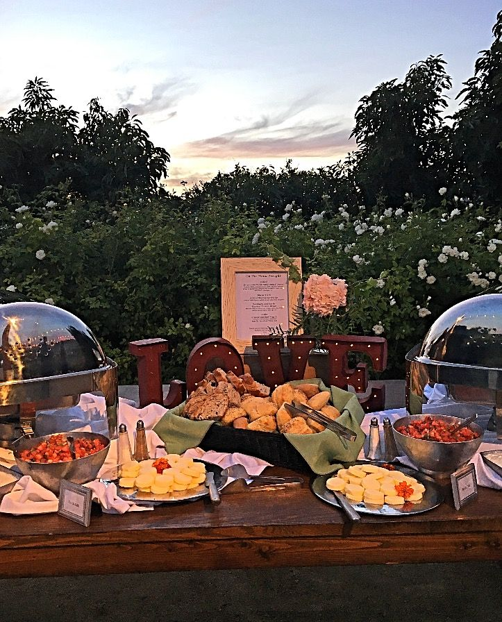 Our Ranch-style Buffet dinner with silver roll-top chafers