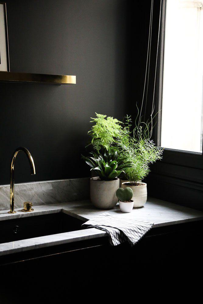Applique murale dorée sur fond noir et quelques plantes sur un plan de travail en marbre apporte une belle lumière.