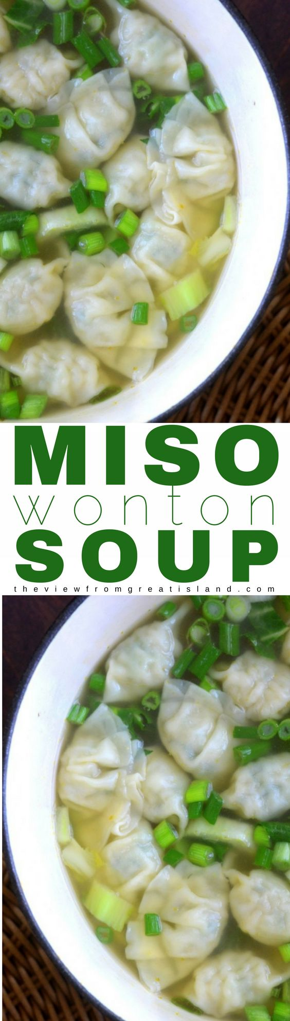 Miso Wonton Soup is healthy, hearty comfort food that can be on the table in less than 30 minutes. #miso #soup #30minutemeal #healthysoup #Japanese #soy #superfood #healthysoup #dumplings #gyoza #chicken #noodlesoup #chickensoup #comfortfood #dumplingsoup #misosoup