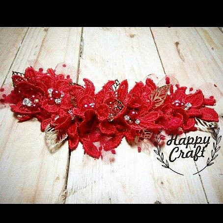 red wedding headpiece
