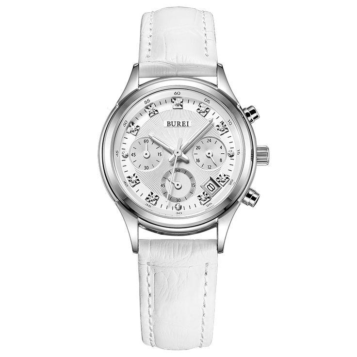 BUREI Watches Women Ladies Luxury Womens Quartz Watch Bracelet Wrist Watch for Woman Waterproof Leather Strap Horloges Vrouwen