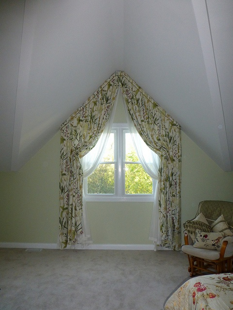 Bedroom window Fully functional italian strung draperies with slanted ceiling
