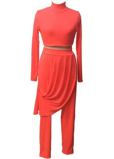 Stand Collar Red Top and High Waist Pants  with cheap wholesale price, buy Stand Collar Red Top and High Waist Pants  at Rotita.com !