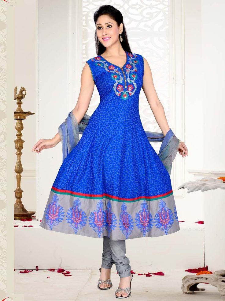 Prominent blue color abstract print silk anarkali with resham thread work.  Item code: SLTY48557 http://www.bharatplaza.com/new-arrivals/salwar-kameez.html