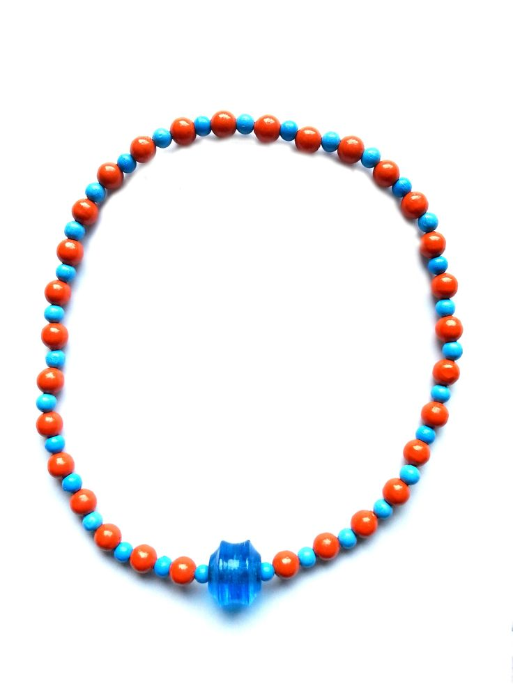 """Halskette Glas- und Holzperlen in orange,blau, Gesamtlänge ca. 45cm, handgefädelt auf Elastikband, ohne Verschluss """"friedericke-design"""" – 100%Handarbeit, Unikat MSK1016"""