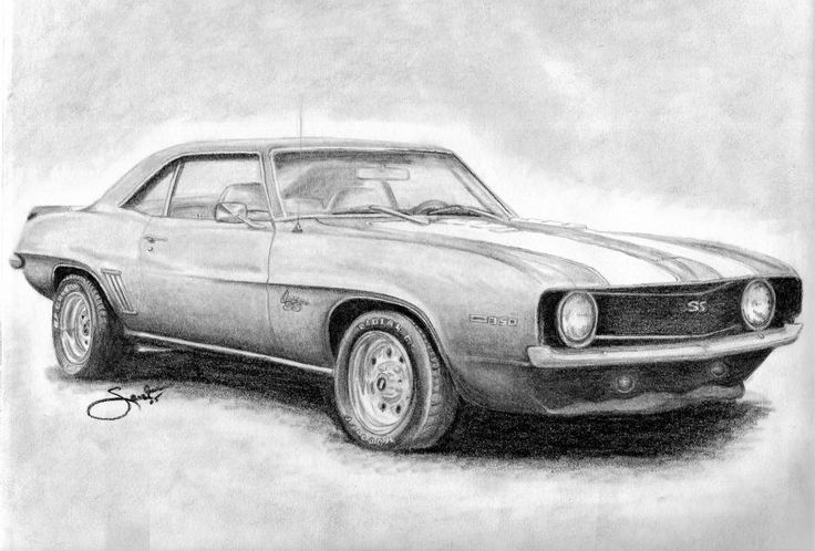 This image reminded me of the car from Supernatural, an American TV series. It is so accurately drawn, and the tone of pencil that has been used, works really well.