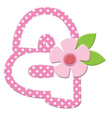 Alfabeto con Flores y Orilla Rosa.