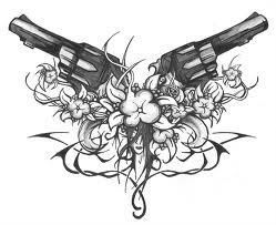 Cool creative pistol tattoo for women