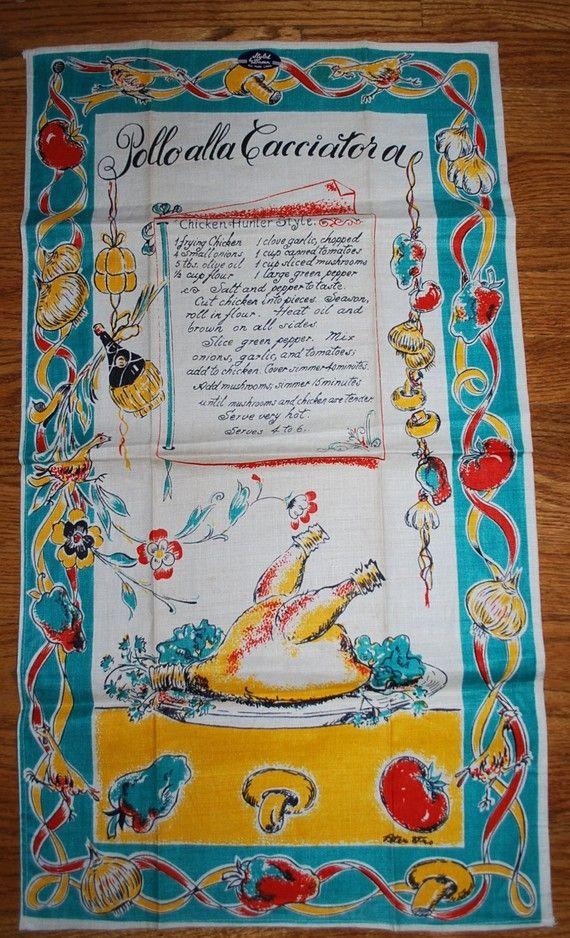 Vintage Italian Themed Kitchen Towel-circa 1950s-Pollo alla Cacciatora on Etsy, $47.00