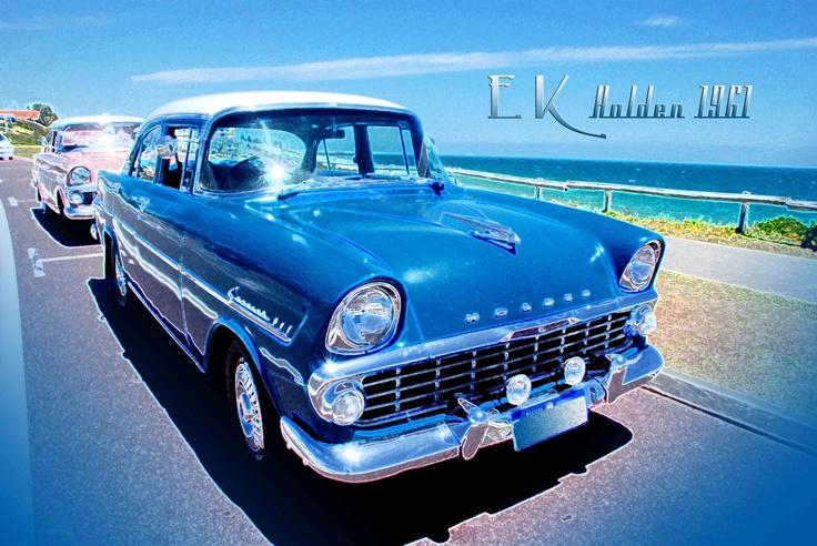 Vintage car Old Holden 1961 EK vintage retro car at the beach. Very Vintage ♥
