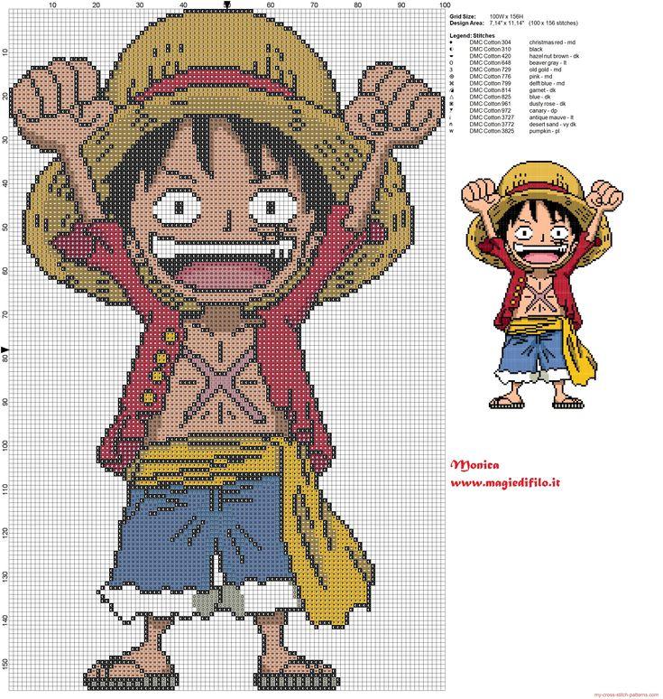 Monkey D. Luffy (de una pieza) patrón de punto de cruz
