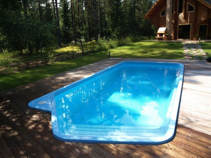 Pool U0026 Backyard Designs: Cool Fiberglass Swimming Pools Wooden Deck Natural  Atmosphere, A Giant