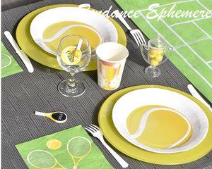 Assiette Ronde Tennis - 23cm - Paquet de 10 - Anniversaire thème sport