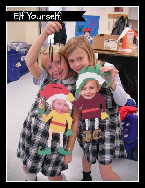 Elf Yourself! Print a head shot of each child, provide them with cotton balls, glitter, construction paper marking pens and glitter. Too cute!