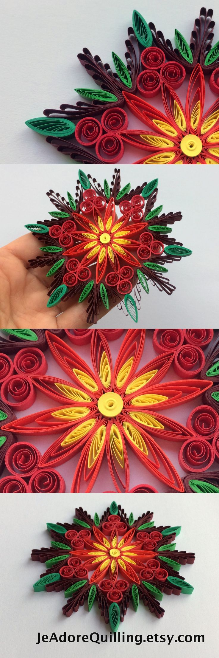 Snowflake Poinsettia Red Green Christmas Tree Decoration Winter Ornaments Gifts Toppers Fillers Office Corporate Paper Quilling Quilled Art