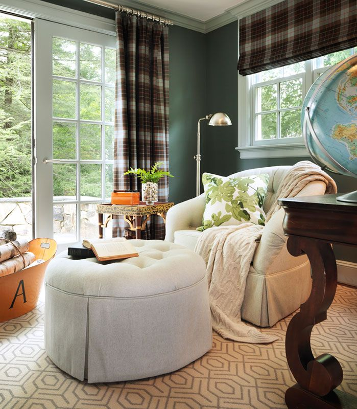 Hudson Interiors, plaid curtains, peter dunham fig leaf pillow - 136 Best Draperies And Valances Images On Pinterest Window