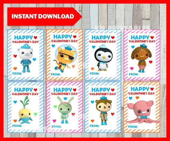 Octonauts Valentine Cards instant download, Printable Octonauts Valentine's Day cards, Printable Pj masks Octonauts Tags