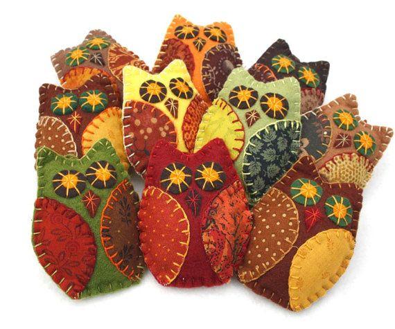 Herfst Owl ornamenten Handmade voelde uil door PuffinPatchwork