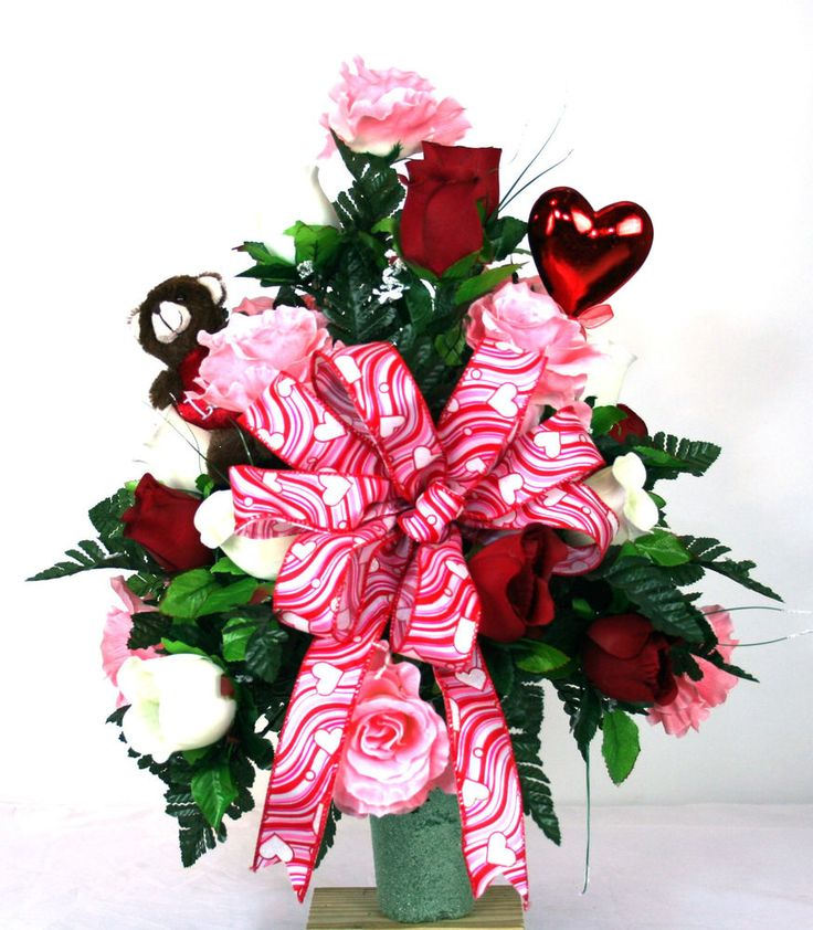 Beautiful Red, Pink And White Roses Valentines Cemetery Vase Flower Arrangement #Crazyboutdeco