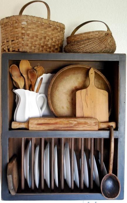 Rustic Country Plate Rack for the Kitchen