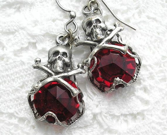 Antiqued Silver Skull Earrings with Ruby Jewels from Morning Glory Designs on Etsy - $18.00