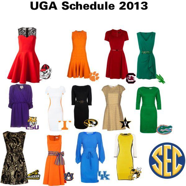 """2013 Georgia Bulldogs schedule looks 'pretty' good!"" by sheliafrey on Polyvore"