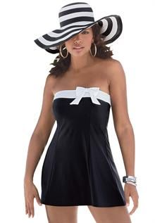 So classy! Love it with the hat and want it all!! Plus Size : Swimwear for Women | Roamans