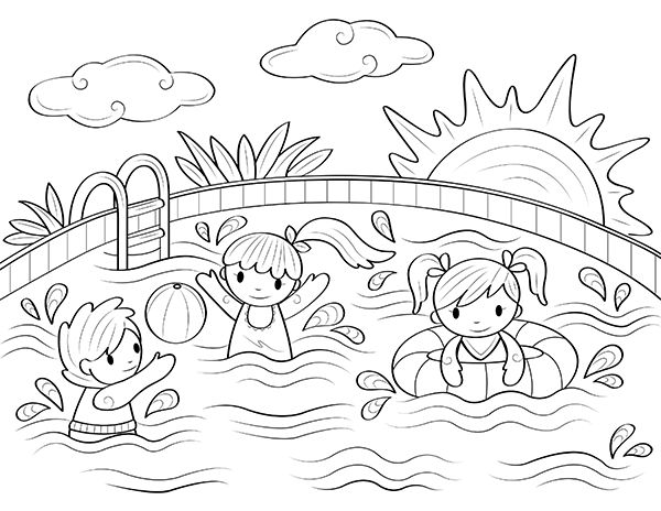 coloring pages printable swimming pool coloring page