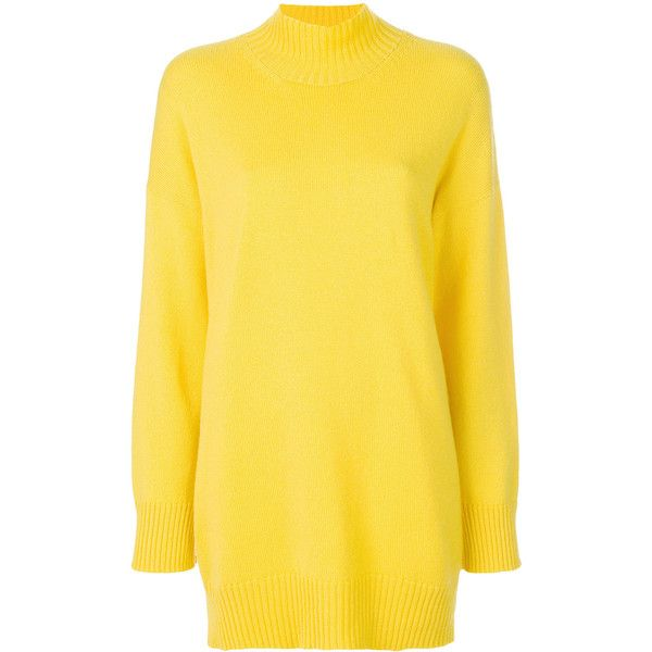 Pringle Of Scotland roll neck oversized sweater ($1,095) ❤ liked on Polyvore featuring tops, sweaters, unavailable, cashmere sweater, long sleeve tops, yellow long sleeve top, yellow cashmere sweater and oversized cashmere sweater