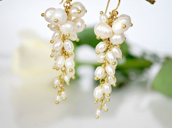 Freshwater White Pearls beautiful wedding earrings by ChaninBijoux, $75.00