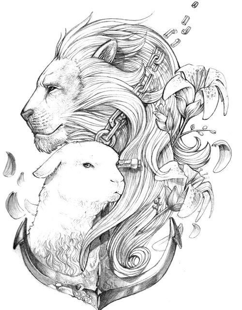 Lion and the Lamb with an Anchor.... I would change the face of the Lion a little bit..... Mehr