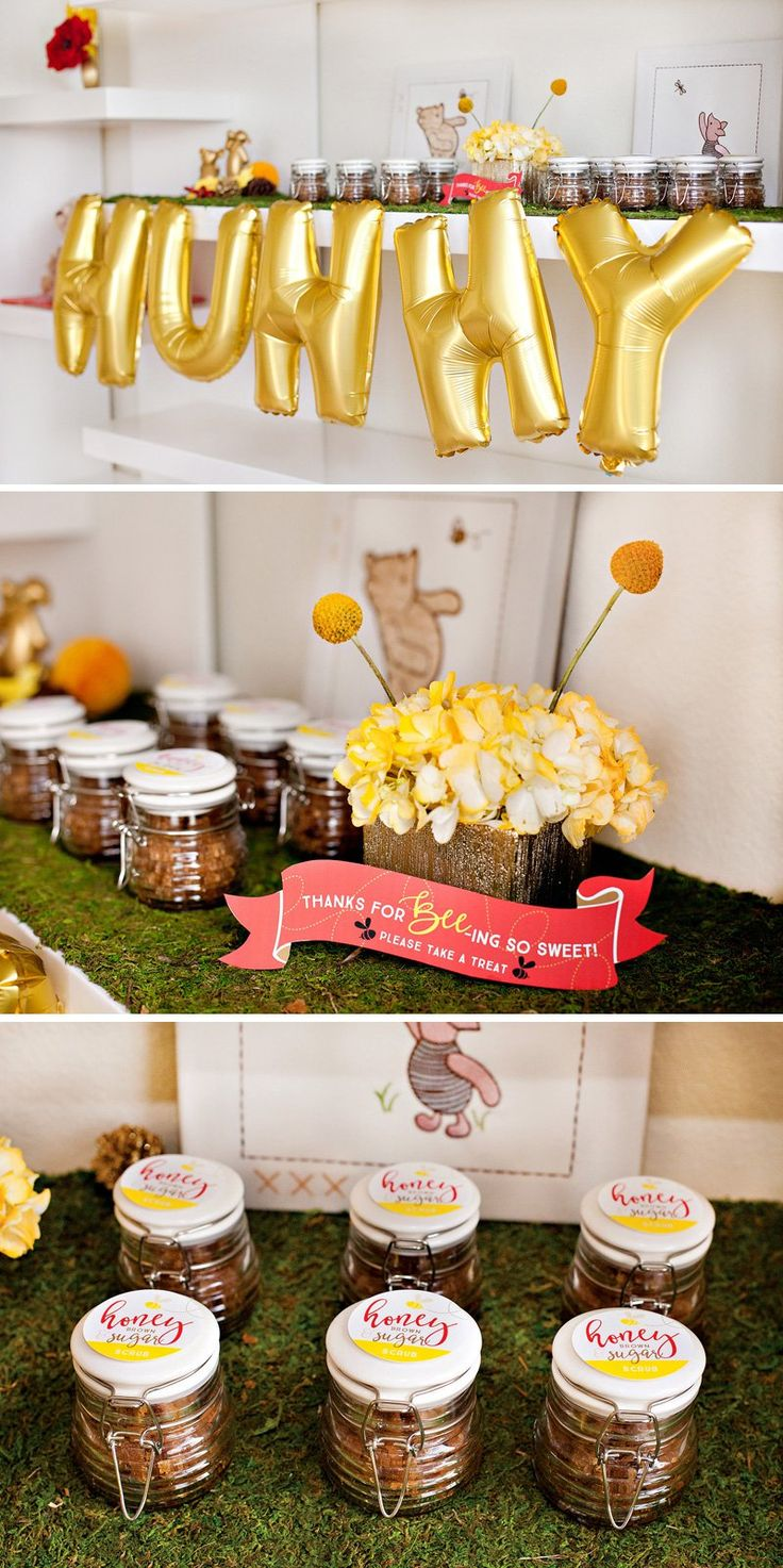 Get ready to introduce your baby to their first best friend! Get inspiration for your Winnie the Pooh baby shower with Honey Sugar Scrub Baby Shower Favors. #FirstBestFriend
