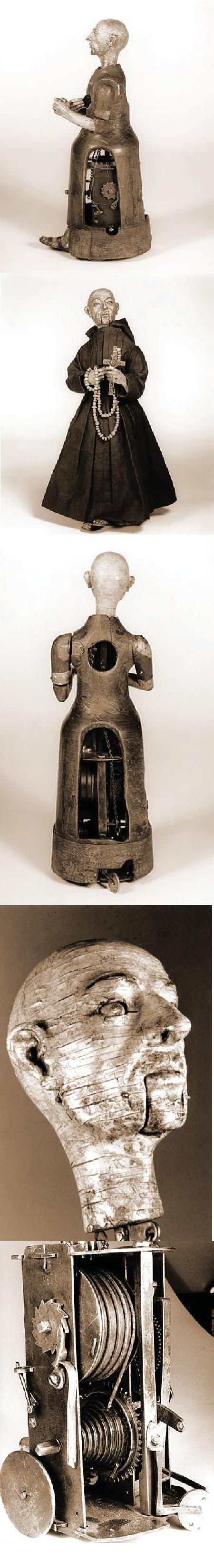"""""""An automaton of a monk, 15 inches in height. Driven by a key-wound spring, the monk walks in a square, striking his chest with his right arm, raising and lowering a small wooden cross and rosary in his left hand, turning and nodding his head, rolling his eyes, and mouthing silent obsequies. From time to time, he brings the cross to his lips and kisses it. After over 400 years, he remains in good working order."""