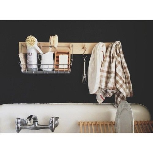 wood peg rack with IKEA basket