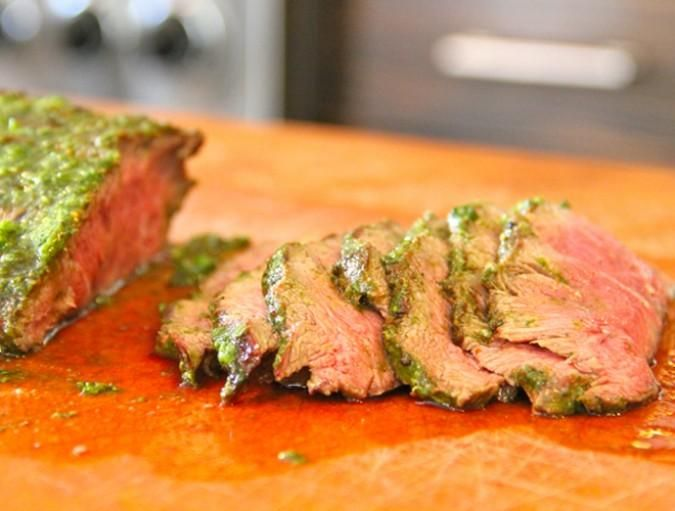Flat Iron Grilled Steak with Chimichurri from Sam the Cooking Guy.