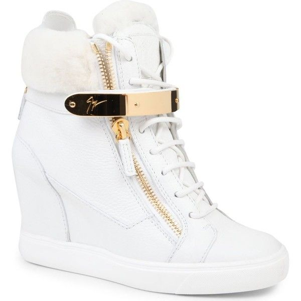 GIUSEPPE ZANOTTI Jasmine leather wedge trainers ($860) ❤ liked on Polyvore featuring shoes, sneakers, heels, wedges, zapatos, white, wedge shoes, wedge sneaker, lace up heeled shoes and white shoes