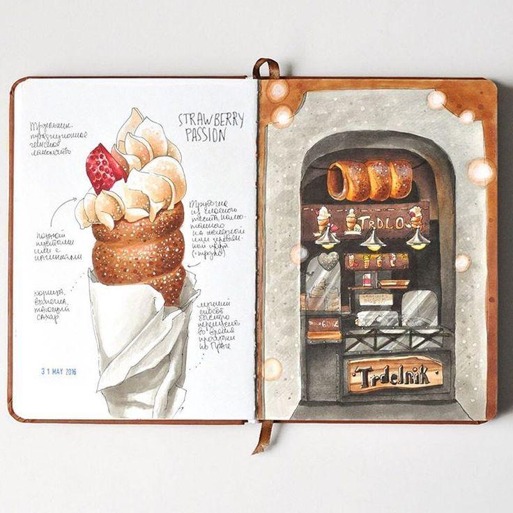 Prague. Sweet Passion ❤️ Трдельник. Только ради этого умопомрачительного десерта стоило ехать в Прагу  #markers #copic #traveljournal #travelbook #sketchmadd #sketch #sketchbook #prague_sketchingtour #praha #prague