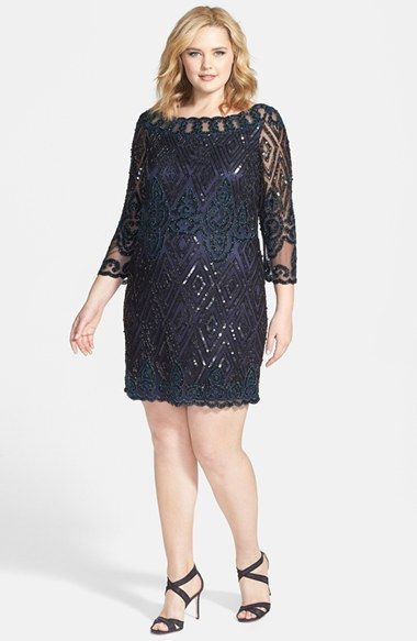 Pisarro Nights Embellished Short Cocktail Dress (Plus Size)