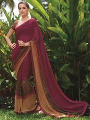 Magenta Color Georgette Festival & Function Wear Sarees : Swarani Collection  YF-42809