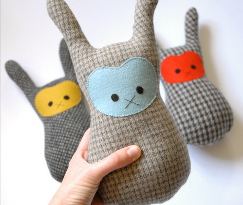 Bunny softie  rabbit soft toy blue face by ParAvian on Etsy, $25.00